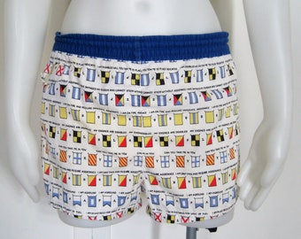 60's Vintage Boys Swim Trunks, Cotton Swimsuit, Women's Shorts, McGregor Maritime Distress Signal Flags Print, Drawstring Waist Up to 26