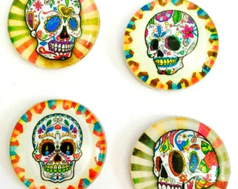 Magnets - Sugar Skulls - Day of the Dead - Skull - Set of 4 - 1 Inch Domed Glass Circles