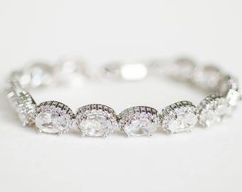 Wedding Bracelet, Cubic Zirconia Bracelet, Bridal Bracelet, Silver bracelet
