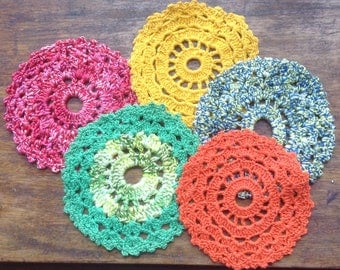 Vintage Lacy Crochet Circles, Blue, Gold, Green, Orange, Red, Lace Crochet