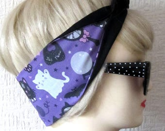 Cat Fortune Teller Mystic Kitty Hair Tie Print Rockabilly Head Scarf by Dolly Cool Occult Dark Arts witch witchy Self designed Fabric