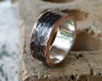Men S Sterling Silver Ring Rustic Wedding Band Hammered
