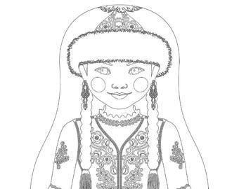 Kazakh Matryoshka Coloring Sheet Printable file