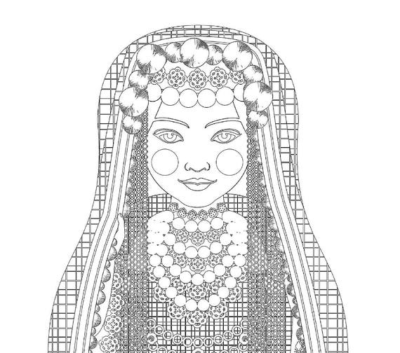 Tunisian Doll Traditional Dress Coloring Printable Matryoshka