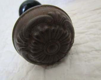 Vintage  Door Knob set Metal Flower Knob and Porcelain