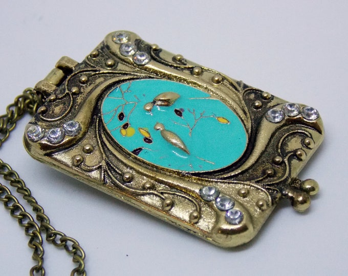 Bird Locket Necklace Verdigris Enamel Patina Brass Rectangle Locket Necklace Victorian Ornate Love Bird Locket Necklace Bird Jewelry