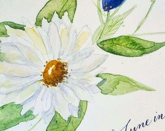 Marriage Certificate with Watercolor Daisies Limonium and Hand Calligraphy DEPOSIT