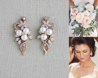 Bridal jewelry etsy crystal bridal earrings rose gold earrings bridal jewelry pearl earrings wedding jewelry junglespirit Gallery