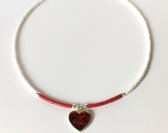 Necklace - Moonshell Heishi - Molded Coral Heishi Beads - Heart Charm
