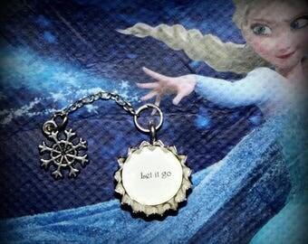 Summer SALE Frozen Elsa Themed 'Let it go' mini Bottle Cap Snowflake Necklace