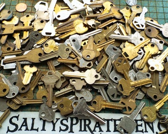 Uncut Keys by the Hundreds, 100, 200, 300, 400 key blanks, various makes, variety of styles, steampunk, locksmith, jewelry
