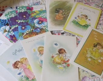 Eleven Sweet Vintage Greeting Cards Birthday Thinking of You
