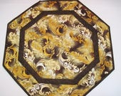 Quilted table topper centerpiece octagon candle mat  table runner Quiltsy Handmade