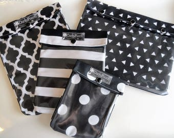 Black and White Assortment Ouch Pouch Set of 4 Clear Front Totes Travel First Aid Kits Medical Supplies Baby JJB/Fawn Diaper Bag Organizers