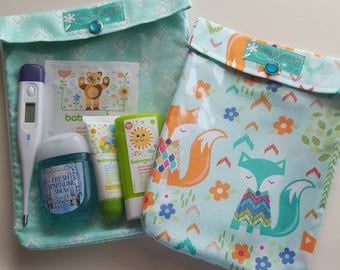 Unique Baby Gift Set Fox and Aqua Diamonds Ouch Pouch 2 Pack (Large 6x8 & Medium 5x7) Clear Front  First Aid Diaper Bag Organizer