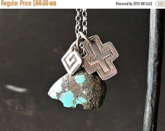 30% OFF CIJ Artisan Jewelry - Southwest Jewelry - Charm Necklace - Heishi Bear - Carved Turquoise - Rustic Handcrafted - Layering Jewelry -