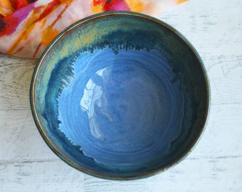 """Serving Bowl with Blue and Earthy Glazes """"SECOND"""" Discounted 20% Imperfect Ceramic Bowl Handcrafted Pottery Made in USA"""