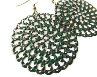 Hand Painted Green and Black Filigree Earrings