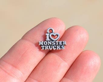 1 Silver I Love Monster Truck Charm SC3105