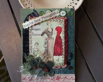 Sewing-themed Card - Handmade Seamstress Card - Crafter Card - Quilter Card