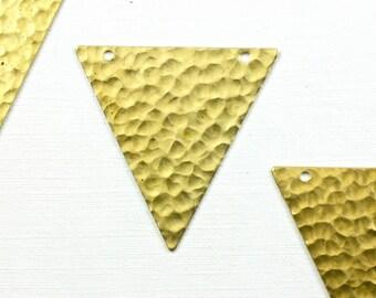 6 hammered TRIANGLE geometric jewelry pendant. 32mm x 35mm (T3). Please read description