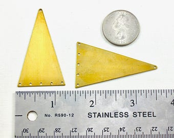 4 large TRIANGLE geometric jewelry pendant or earring drops with additional holes. 2 inches long (ST60). Please read description
