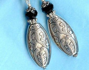 Earrings ♥ ♥ black crystal silver OR461 ARABESQUE