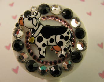 Cow Retractable ID Badge Reel,ID Badge Holder,Nurse ID Badge Holder,Name Tag Holder,Name Badge Holder,Pediatric Badge Holder Swarovski Bling