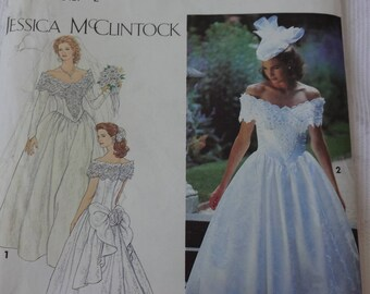 Simplicity 8165 Sewing Pattern Brides' Dress, Miss Brides' Wedding Gown, Vintage Jessica McClintock Sewing Pattern, Size 6, 8, 10  UNCUT