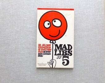Vintage 1968 MAD LIBS #5 Roger Prince Leonard Stern Word Games Sally Draper Teen Fun - Paperback Original 1960s 1970s