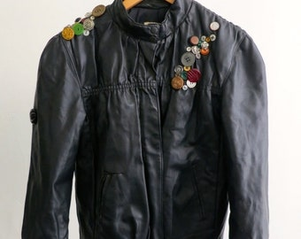 40% OFF The Button Encrusted Faux Leather Bomber Jacket