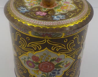 Vintage Floral Storage Tin - Made in England - Shabby Cottage - Daher Tin