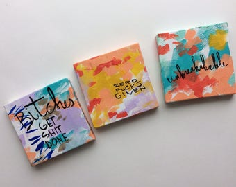 Three mini feminist paintings series H - bright colors - bold art- unbreakable - the future is female - vive le feminisme