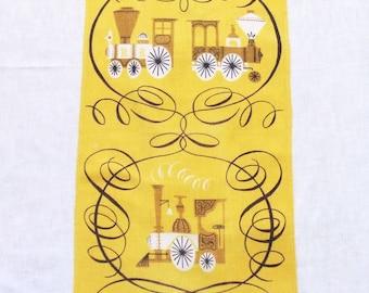 Tammis Keefe Linen Tea Towel Gold Trains