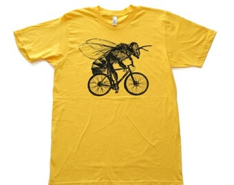SUMMER SALE Bee on a Bike- Mens T Shirt, Unisex Tee, Cotton Tee, Handmade graphic tee, Bicycle shirt, Bike Tee, sizes xs-xxl