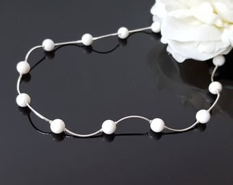 Jade Necklace White Girlfriend Gift Christmas Wife Minimal Beaded Choker Wave Necklace Silver Beauty Gift White Bridesmaid Necklace Gift