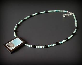 Intarsia Pendant Necklace Blue Jasper Pendant with Black Onyx Blue Gemstone Necklace Onyx Necklace Black Crystal Necklace Picture Pendant