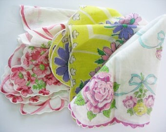 Vintage Handkerchiefs, Hankies, 3 Piece Lot, Floral, Scalloped Edge, Sharp Colors, Crafts