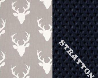 SALE Personalized Minky Baby Blanket Boy, Deer Animals Navy Gray Cotton // Deer Baby Blanket // Personalized Baby Blanket // Baby Shower Gif