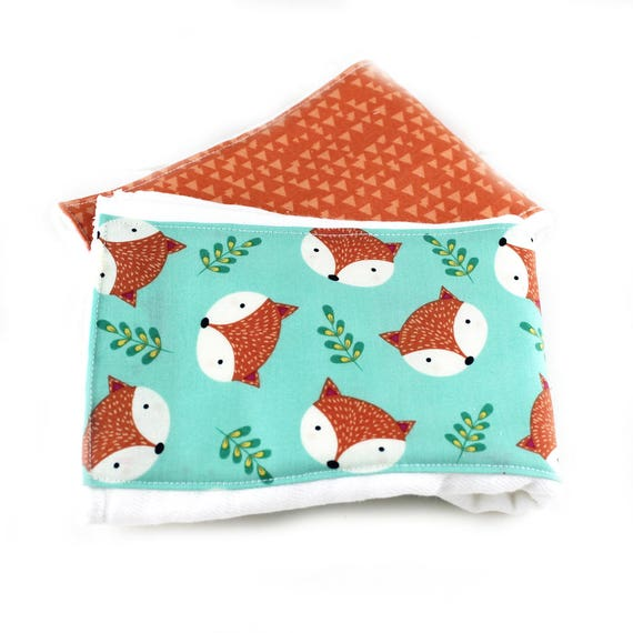 Burp Cloths -Foxes Burp Cloth - Boy Animal Burp Cloths  - Orange Blue Diaper Burp Cloth // Baby Shower Gift // Fox Burp Cloth