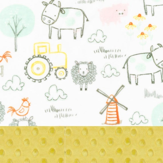 Farm Animal Minky Baby Blanket, Personalized Baby Blanket  - Gray Yellow Orange Pig Farm Blanket - Nursery Decor / Animal Blanket