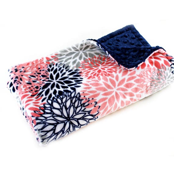 Gift For Women, Floral Minky Blanket, Adult Minky Blanket Personalized Blanket Coral Flower Blanket  Coral Minky Throw Blanket, Gift For Her