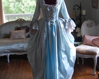 Ice blue silk and satin Marie Antoinette Victorian inspired rococo costume dress halloween