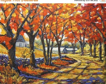 On Sale Country Lane Sentinals  - Large Autumn Landscape - Original Oil Painting Created by Prankearts
