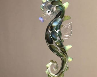 one Handblown glass dragon Seahorse Ornament, for the Holidays or any day.
