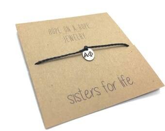 Greek Letters Bracelet - Hand Stamped Greek Bracelet - Sorority Bracelet - Fraternity Bracelet - Greek Life - Cord Bracelet - Greek Charm