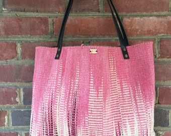 Wool and leather boho tote bag