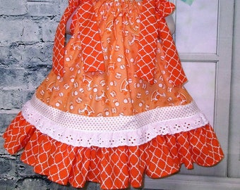 Girls Dress 12M/18M Orange White Toys Rocking Horse, Rattles, Balls Pillowcase Dress, Pillow Case Dress, Sundress, Boutique Dress