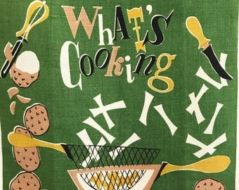Vintage Tea Towel Whats Cooking French Fries