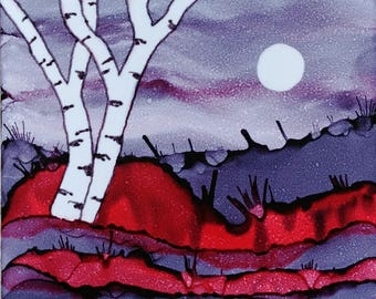 Alcohol Ink Ceramic Tile Painting Birch Tree Landscape with Moon